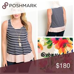 "Plus navy stripped tank top This sleeveless stripe print top features a pink solid trim on hem and a scooped neckline. 69% rayon 27% polyester 4% spandex. 29"" in length. Necklace is attached to top. Tops Tank Tops"