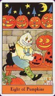 eight of pumpkins Halloween Tarot  http://www.amazon.com/The-Halloween-Tarot-Deck-Book/dp/1572810343