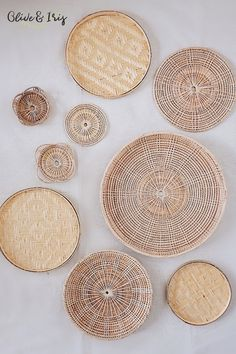 Add beautiful three-dimensional texture to a smooth wall surface with subtle, yet stylish handwoven baskets. Eco-friendly and ethically made by highly skilled artisans in Thailand Design Blog, Küchen Design, Living Room Decor, Bedroom Decor, Dining Room, Bedroom Wall, Wicker Bedroom, Bed Room, Bedroom Ideas