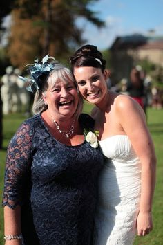A bride with her mum at Bickley Manor