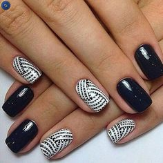 Stunning 30 Extraordinary Black White Nail Designs Ideas Just For You Short Nail Designs, Nail Designs Spring, Nail Art Designs, Black And White Nail Designs, Black White Nails, Cute Nails, Pretty Nails, Nail Manicure, Nail Polish