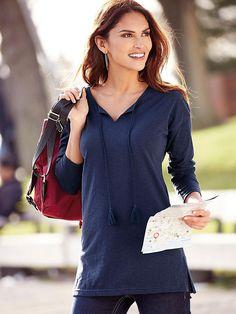 f234842f6f822 Tee-shirt fendu manches longues pompons femme Exclusivité 3SUISSES - Bleu
