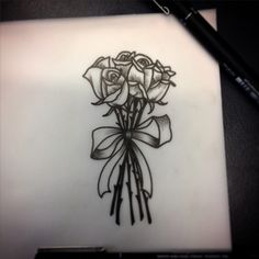 Little rose bouquet up for grabs! #rose #roses #flowers #bouquet #ribbon #bow #drawing #sketch #stencil #outline #ink #tattoo #art #etch