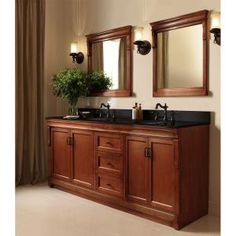 Foremost Naples 60 In. W Bath Vanity Cabinet Only In Warm Cinnamon For  Double Bowl