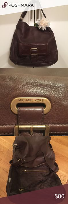 Michael Kors Dark Brown Leather Bag Soft buttery brown handbag, gold/brass accents. Inside very clean, great preloved condition. Corners and straps good. Nonsmoking home. Michael Kors Bags Hobos
