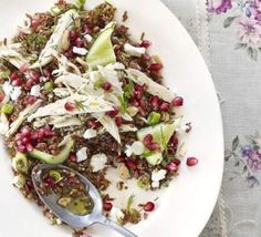 Red rice & chicken salad with pomegranate & feta
