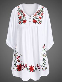 Elegant Embroidered 1/2 Sleeve Plus Size Dress For Women