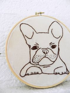 Custom Pet Portrait. French Bulldog Hoop Art. Embroidery Hoop Art. Pet Art. French Bull Dog. Personalized Pets Gift. Dog. Cats.by BlueLeafBoutique