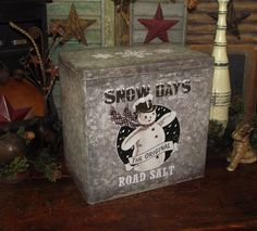 Primitive Antique Vtg Style French Country Winter Snowman Salt Chic Repro Tin