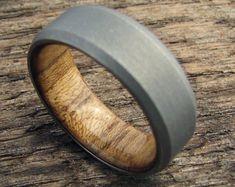 Titanium and Teak wood lined Men's Ring   Stonewashed Matte Finish Titanium   Waterproof Wooden Wedding Band