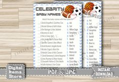 Baby Shower Celebrity Baby Game Sports - Celebrity Baby Shower Game All Stars Football, Basketball, Soccer - Instant Download - asg by DigitalitemsShop on Etsy