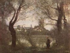 Jean-Baptiste-Camille Corot.  Kathedrale von Nantes. Um 1860, Öl auf Leinwand, 42,7 × 55,8cm. Reims, Musée des Beaux Arts.Landschaftsmalerei.Frankreich.Realismus.  KO 00180