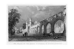 size: Giclee Print: The Palace of the Bishop of Durham, at Bishop Auckland, 1833 : Artists Antique Maps, Antique Prints, Durham, Auckland Castle, Palace, St Johns College, Bishop Auckland, Le Genre, Tropical Art