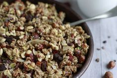Paleo Granola with Hazelnuts & Cacao Nibs- savorylotus.com
