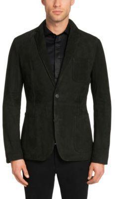 Hugo Boss Nuvins Regular Fit, Suede Leather Textured Sport Coat 40R Black