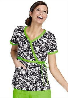 47e0bd0cd03 Koi Kathryn Midnight Blooms mock-wrap scrub top. Koi Scrubs, Scrub Life,