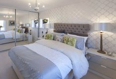 Bedroom Decorated With Silver Wallpaper Silvered Bedside Table Lamps