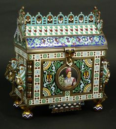 Russian Silver Enameled Portrait Plaque Box. 1880.