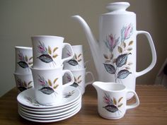 Vintage Retro 1960s J Meakin Studio 'Nightclub' Coffee Set - 6 Cups and Saucers