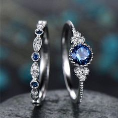 Beautiful Hand Crafted Luxe Princess Ring Set is now available!Fall in love with this breathtaking elegance of these luxe princess ring set accented with round-shape cubic zirconia shoulder stones with a matching second band.Due to the complexity . Crystal Jewelry, Silver Jewelry, Silver Rings, 925 Silver, Crystal Ring, Sterling Silver, Gold Jewellery, Emerald Jewelry, Silver Bracelets