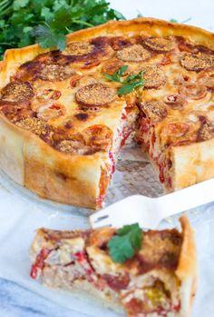 Een kruising tussen een quiche en pizza.. Quichizza! Simpel, maar superlekker.