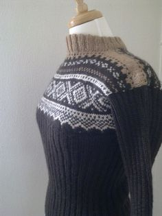 Fair Isle Pullover (Marius pattern); Unusual color combo and unusual use of ribbing --I love it!