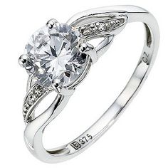 Cubic Zirconia and 9ct white gold £160 Ernest Jones. Size N