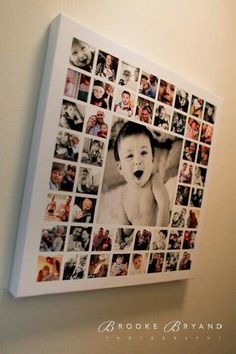 Photo idea on canvas. One large image, lots of small squared images mod-podged onto a canvas. A way to use and display so many of the pictures just hidden away on my hard drive! Do this for your kids! Such a great keepsake