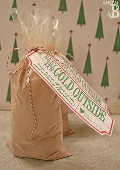 Hot chocolate gift tag printable