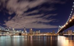 new york, night, cloud, brooklyn bridge