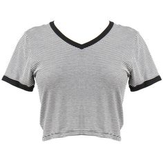 Striped V-Neck Cropped Tee Black ($11) ❤ liked on Polyvore featuring tops, t-shirts, shirts, crop tops, striped shirt, t shirts, striped crop top, black v neck t shirt and vneck t shirts