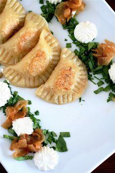 homemade #vegetarian pierogi - stuffed with potato, caramelized onion, and cheese -- #russian #snack