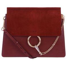 Chloé Medium Faye Shoulder Bag ($1,830) ❤ liked on Polyvore featuring bags, handbags, shoulder bags, chloe handbags, shoulder hand bags, red handbags, shoulder bag purse and shoulder strap handbags