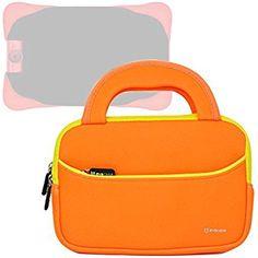Evecase UltraPortable Handle Carrying Neoprene Sleeve Case Bag Compatible with Fuhu Nabi Jr. / nabi Jr. S - Kids Tablet / nabi Jr. nick Jr. Edition Tablet 5 inch Android Kids Tablet - Orange