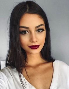 red lip + bold brow