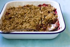 Fantastic homemade organic Apple and Blackberry Crumble! Healthy and easy to make!