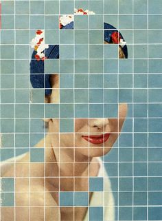 http://a-gerace.com/index.php/collage/there-must-be-more-to-life-than-this/  Collage by Anthony Gerace  Another piece by Anthony gerace, but more of the figure is withheld from the viewer. The background of the grid takes more place, giving the viewer a hint of the woman's jaw and her smiling mouth.