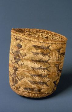 19th century Wasco Indian Twined Bag Showing Frog and Sturgeon Motifs. Made from Indian hemp, dogbane. The Wasco tribal grounds were historically along the Columbia River. This Chinookan tribe is today they are part of the Warm Springs Reservation in Oregon. (Native American)