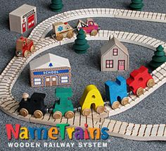 Name Trains Wooden Railway System  | The name trains wooden railway system make a great unique personalized gift for your child. Check out other eco-friendly wooden toys including an extensive line of wooden trains, accessory cars, tracks, bridges, buildings and trees for hours of imaginative fun play.