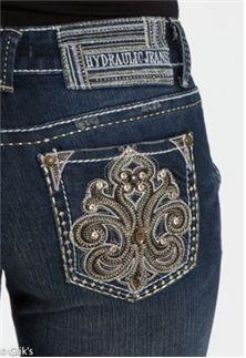 Hydraulic Fleur De Lis Stud Bootcut Jean