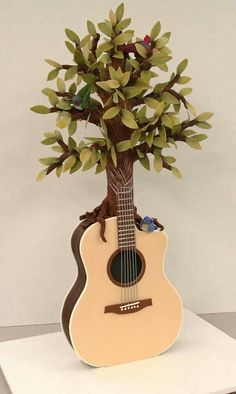 Tree Guitar Cake by Mike's Amazing Cakes Gorgeous Cakes, Pretty Cakes, Amazing Cakes, Crazy Cakes, Fancy Cakes, Pink Cakes, Unique Cakes, Creative Cakes, Creative Food