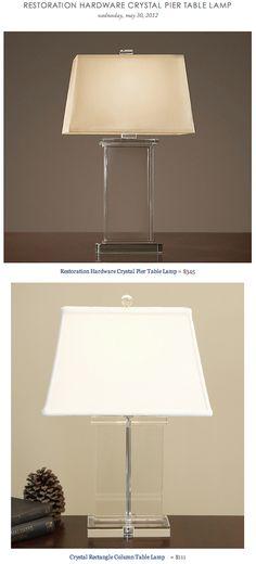 RESTORATION HARDWARE CRYSTAL PIER TABLE LAMP vs OVERSTOCK'S CRYSTAL RECTANGLE COLUMN TABLE LAMP