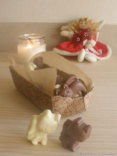 Bonbons de chocolate de leite e chocolate branco