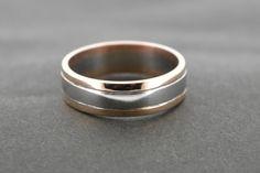 2 tone Rose Gold and Palladium Wedding Men, Wedding Bands, Rings For Men, Rose Gold, Engagement Rings, Jewelry, Enagement Rings, Men Rings, Wedding Rings