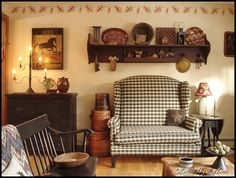Love the loveseat and shelf,,,,another primitive look  Look at The Old Mercantile in Clarksville Tn. ----theoldmercantile.com------931-552-0910