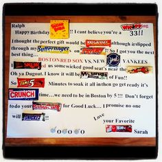 SUPER CUTE! Birthday message with candy bars.