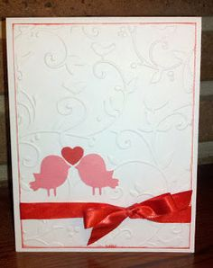 Valentine Card - Embossing and Create a Critter Cricut Cartridge.