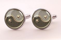 Ying Yang Cufflinks,Groom Photo Cufflinks,Groomsmen Wedding Cufflinks