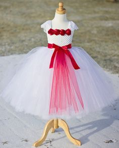Red and White Flower Girl Tutu Dress by FourSweetHearts on Etsy, $75.00