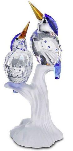 Swarovski Malachite Kingfishers.  Swarovski Crystal Figurine.